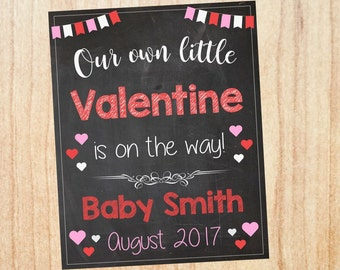 Valentine's Day Pregnancy Announcement Sign PRINTABLE New Baby Chalkboard our own little valentine photo prop