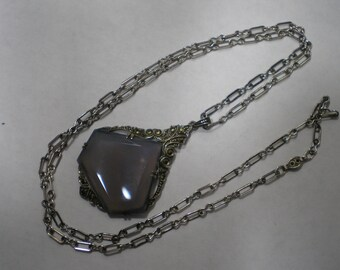 Vintage Sterling Silver Germany Blue Chalcedony Marcasite Theodor Fahrner Style Necklace