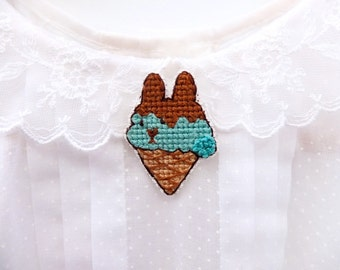 SALE: Bunny ice cream cross stitch pin, mint chocolate ice cream, ice cream cone, sweet tooth, ice cream lovers, gifts for her