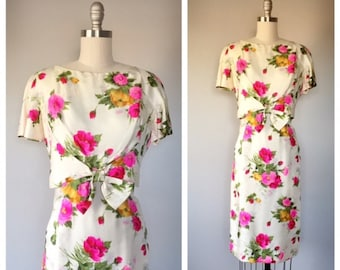 60s silk floral cocktail dress size small / vintage rose print dress / 60s wiggle dress / vintage wiggle dress