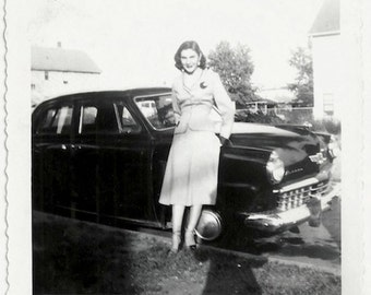 Old Photo Woman leaning on Car wearing Skirt Jacket Pin 1950s Photograph Snapshot vintage Automobile