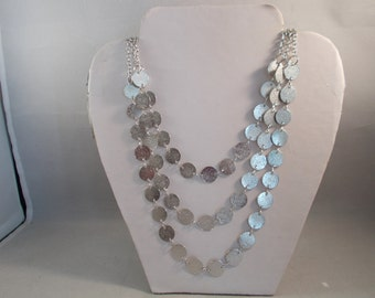 3 Strand Silver Tone Chain Necklace with Silver Tone Charm Disc Beads