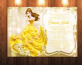 Belle With Light Gold Shimmer Background Invitation Beauty The Beast Multi Size Option
