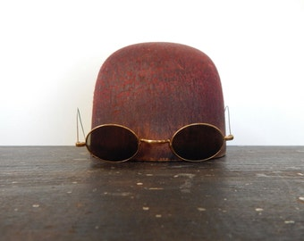Antiques sunglasses vintage eyeglasses steampunk victorian old spectacles edwardian glasses dark lenses smokey gray lenses hoop ear wires