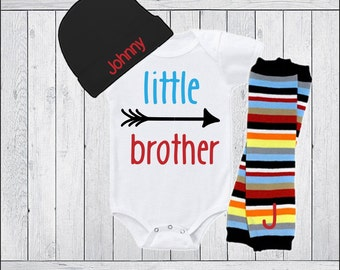 Little Brother Outfit Baby Boy Clothing Bodysuit or Gown Leg Warmers Personalized Hat Option Little Brother Baby Boy Clothes Lil Brother