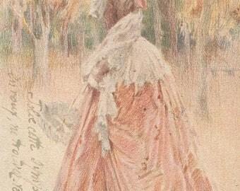Proper Lady On A Stroll Through The Woods Original Antique Art Postcard