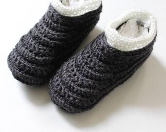 Crochet Moccasin slippers for women, Crochet slipper boots, Women's house shoes - The Davos-