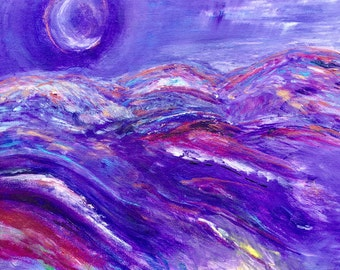 Snow Moon Original Painting on Canvas Board