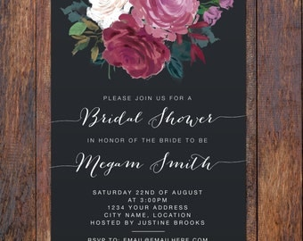 Floral Bridal Shower Invitation - Floral Bridal Shower Invite - Printable Floral Bridal Shower Template, Rustic Bridal Shower Invitation