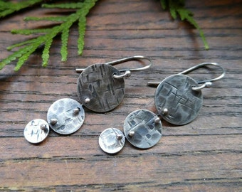Sterling Silver Round Textured Earrings with Unique Detailing. Long Dangle Silver Earrings. Modern Silver Earrings. Geometric Earrings.