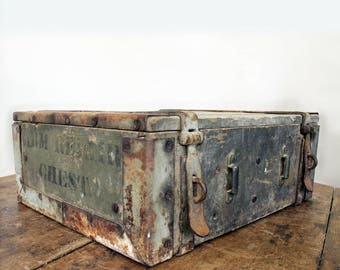 Antique Wood Storage Box - WWI Armorer Repair Chest - Militaria - Vintage Army Gear - Wood and Metal Box - Industrial Storage - Rustic