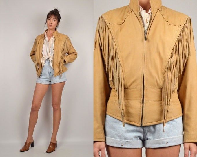 Vintage Tan Leather Fringe Jacket