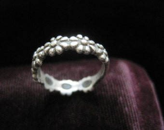 Sterling Daisy Ring Flower Silver 925 Flowers Floral Band Vintage Size 5 3/4