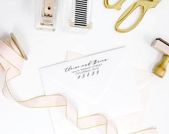 Custom return address rubber stamp - modern calligraphy handwritten style script - wood handle mounted or self inking - TP003