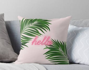 Palm tree print pillow, green pillow, customised decor, home decor, gift for her, Palm tree decor, neon decor, neon typography