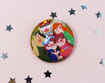 Gravity Falls, 56mm Matte Badge, Pines Family, Cartoon, Pin, Brooch