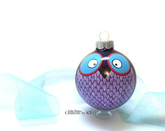 Purple Owl Ornament MADE TO ORDER Christmas Bauble Woodland Animal Hand Painted Owl Decor Woodland Creature Woodland Decor