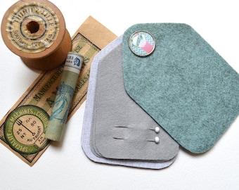 Sewing Needle Case - Needle Holder - Felt - Blue Grey - Handmade