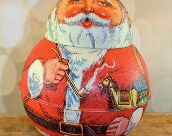 1980 Bristol Ware Santa Claus Tin, Chen Industries, Metal Christmas Tin, Vintage Santa Container,