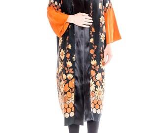 1970s Silk Floral Print Robe Size: S-L