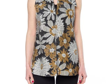 Metalic Gold And Silver Floral Print Top Size: 4