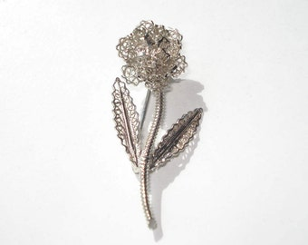 Vintage Sterling Silver Flower Pin - Silver 925 Filigree Floral Brooch - WFS Jewelry