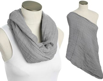 SALE! Slate Gray 100% Cotton Muslin Gauze Hold Me Close Nursing Scarf - Nursing Cover - Infinity Nursing Scarf - Nursing Poncho