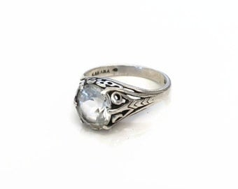 Vintage Sterling Silver CZ Kabana Ring SZ 8.75, Scroll Heart Ring, Art Nouveau Style