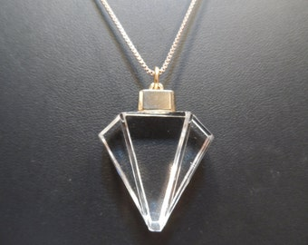 Art Deco Cut Crystal Pendant Yellow Gold Over 925 Sterling Silver Italy 18 Inch Chain Necklace