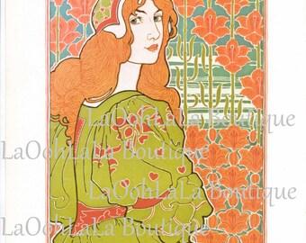 1898 Lady Jane Goddess Art Nouveau Louis Rhead Redhead Print & 1895 Josef Sattler Pan Double-Sided Lithograph L'Estampe Moderne Floral Decor