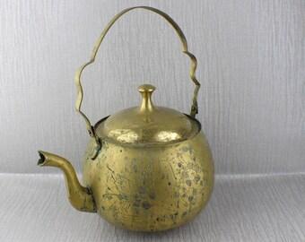 Large Rustic Vintage Brass Ornate Ornamental Teapot Engraved Pattern Surface