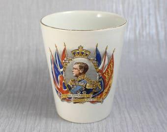 1937 King Edward VIII Coronation Commemorative Ceramic Beaker Tumbler Cup