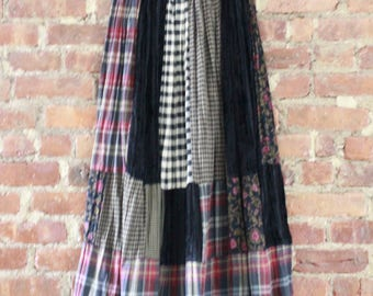Grunge Multiprint Plaid Maxi Skirt One Size