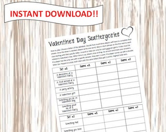 PRINTABLE. Valentine's Scattergories. Scattergories. Digital Download.