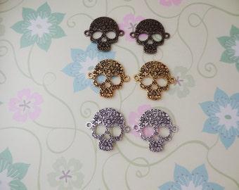 2 pcs - Sugar Skulls Connectors in Bronze, Gold or Silver