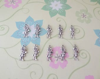 10 or 20 pcs - Antique Silver Double Sided Child/Boy Charm