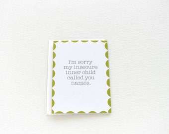 Sorry Card, Funny Apology Card, Inner Child Card, Friend Card, Relationship Card, Husband Wife Card, Couples I'm Sorry Card - 141C