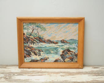 PBN Ocean Painting Wood Frame