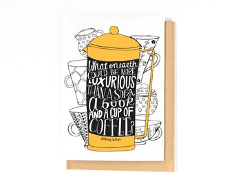 Just Because Card - Coffee Card - Coffee Lover - Book Lover - Book Greeting Card - Bookworm Gift Idea - Thinking Of You Card - French Press