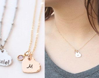 Tiny Gold or Silver Heart Necklace, Heart Initial Necklace, Little Girls Necklace, Gift for Her, Sweet 16, Name Necklace with Birthstone