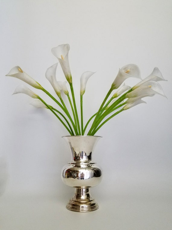 "Large Vase Ern Silver Plate Trophy Style Elegant Center Piece Vase-""Ships International"" Email For Rates"