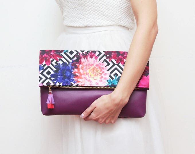 Large clutch purse-floral handbag-fold over bag-purple and monochrome-oversized floral bag-purple black white- Ready to Ship/FALL HANDY 22