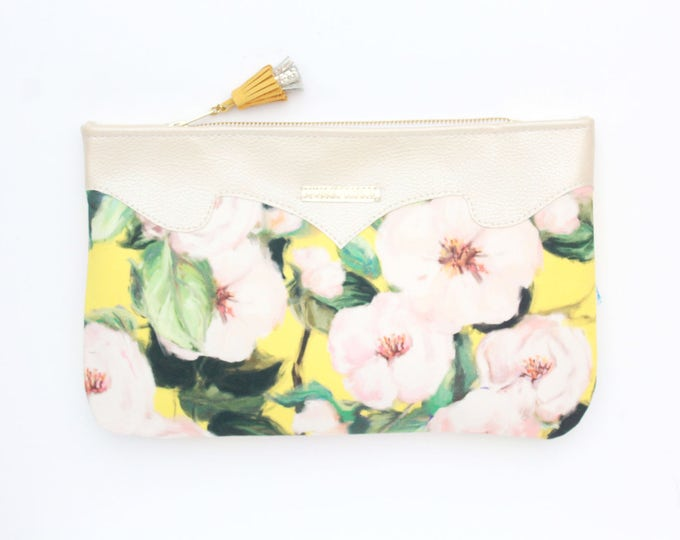 Floral watercolor purse-metallic leather bag-wedding purse-small evening bag-bridesmaid gift-yellow pastels pink-Ready to Ship/ SUMMER 16
