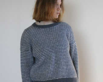 simple grey white vintage pullover sweater