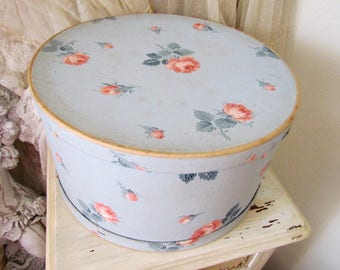 Vintage Robins Egg Blue Wallpaper Hatbox With Pink Roses
