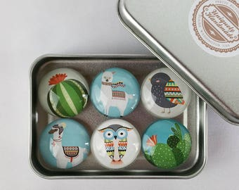 Cactus Llama Glass Magnets, Magnets, Fridge Magnets, Personalized Magnets, 6 Magnet Set Owl Bird Gift, Refrigerator Magnets Party Favors M04