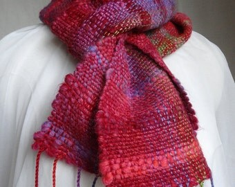 Handwoven scarf 'Jewel'. Made in Scotland