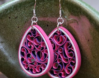 Quilled Paper Honeycomb Earring Pink & Purple | Unique Handmade Gift | First Anniversary Gift for Her | Paper Jewelry