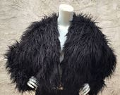Cropped Hippari Disco Jacket in Black Shaggy Faux Fur and Multicolored Kaleidoscope Lining