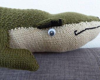 Handmade acrylic wool crocodile toy or ornament